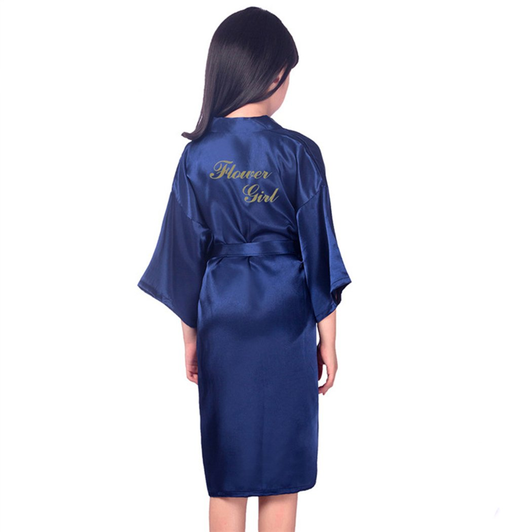 Hoter Flower Girl Robe Pure Color Kimono Wedding Party Getting Robe with Gold Glitter 2 Styles to Choose(4-14)
