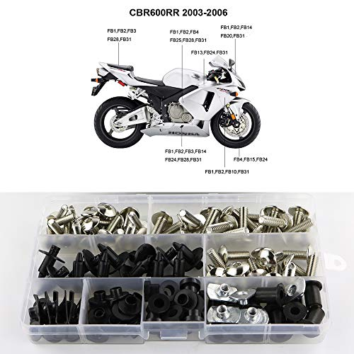 Xitomer Full Sets Fairing Bolts Kits, for Honda CBR600RR F5 2003-2006, Mounting Kits Washers/Nuts/Fastenings/Clips/Grommets (Silver)