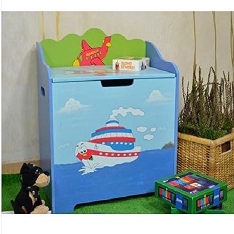 Banco de caja de almacenamiento pecho de juguete para niños de madera azul vehículos/