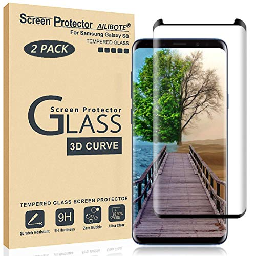 Glass Screen Protector for Samsung Galaxy S8,[2 Pack] AILIBOTE 3D Curved Tempered Glass, Dot Matrix with Easy Installation Tray, Case Friendly