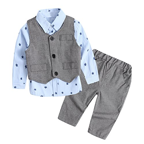 Baby Boy Clothes, Toddler Outfit 3PCS Children Clothing Set with Vest + Pants Blue 3-6 Months