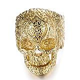 Acero inoxidable anillos de calavera para hombre Mujer clásico gótico anillos, Dorado, 10
