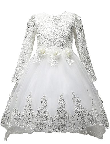 [21KIDS Elegant Long Sleeve Wedding Party Princess Gown Pageant Girl Long Dress] (Fairy Dress For Kids)