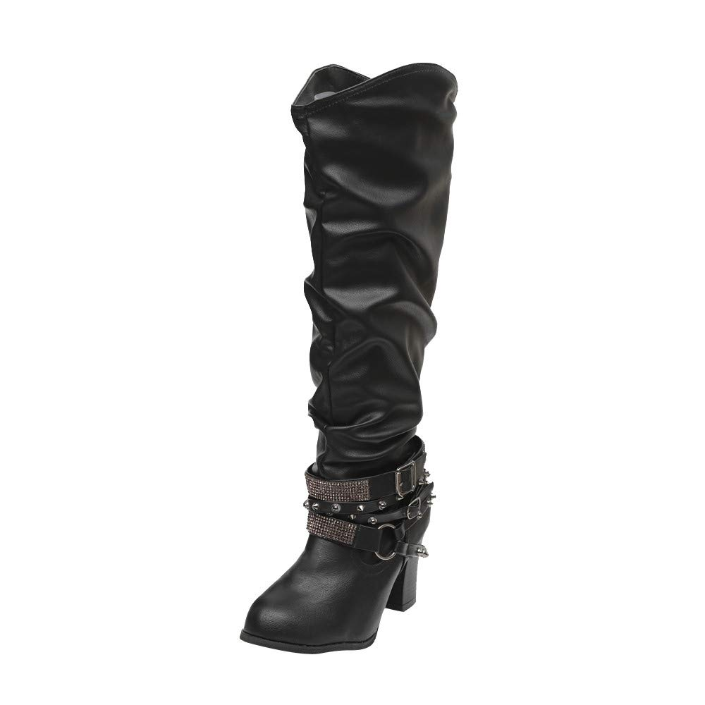 Clearance Sale! Caopixx Boots for Women Knee High Women's Ankle Boots High Heel Shoes Retro Shiny Rivets Riding Boots Soft