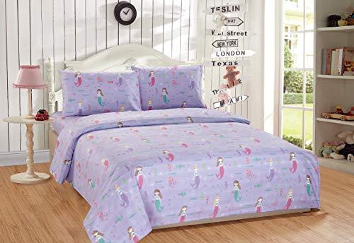 - Mk Home 4pc Full Size Sheet Set for Girls Mermaids Fishes Aqua Lavender Pink New