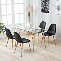 Mecor 5 Piece Dining Table Set 4 Leather Chairs Kitchen Furniture (Eames)