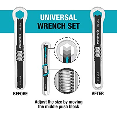 GEARDRIVE Universal Wrench Set, SAE & Metric, 8-inch&10-inch, 44 sizes in 2 Piece, Drop Forged, ANSI standard