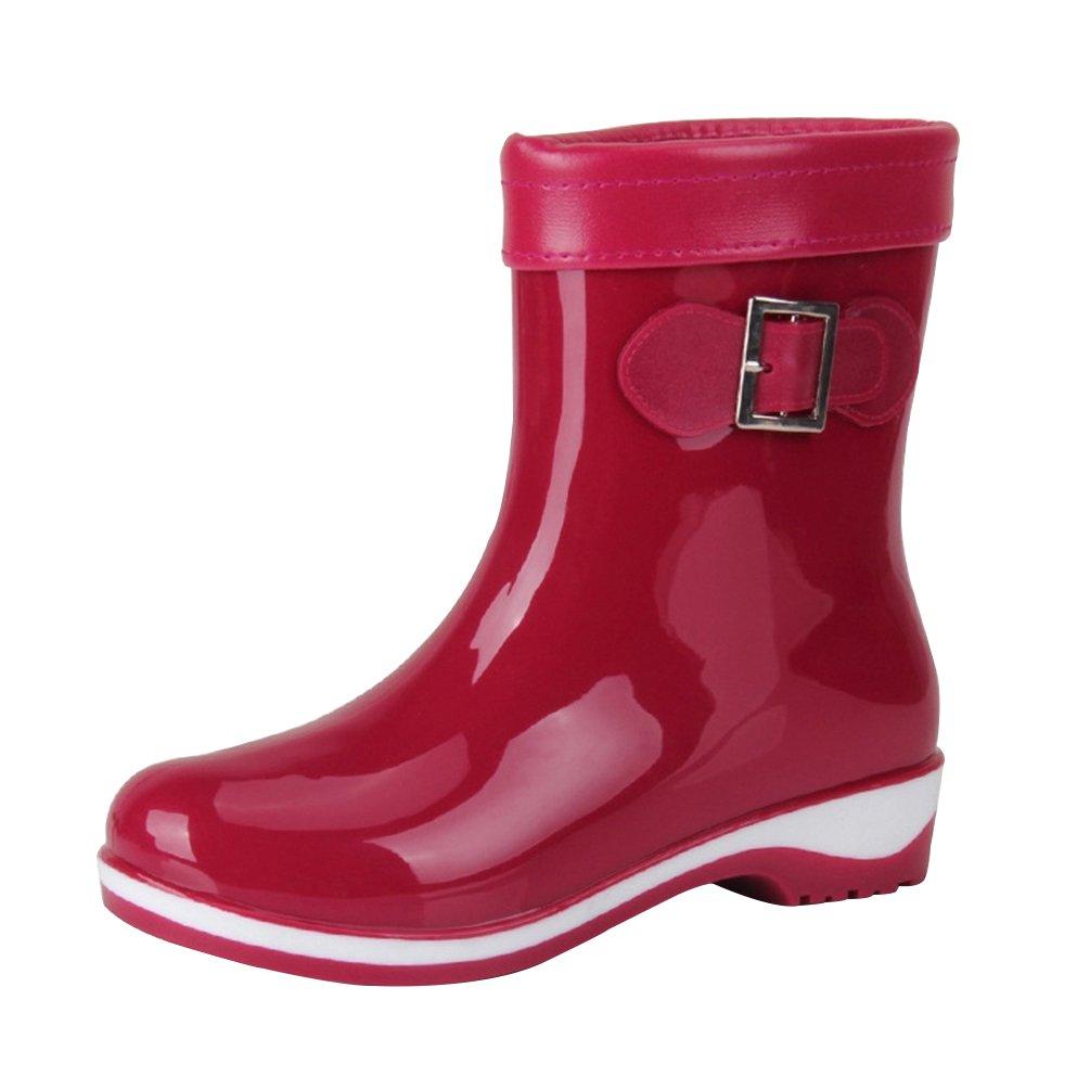 5c76df1e1ee8f7 YoungSoul Bottines de Pluie Femme - Bottes en Caoutchouc fourrées mi Mollet  - Chaussure imperméables Bottes de Jardin: Amazon.fr: Chaussures et Sacs