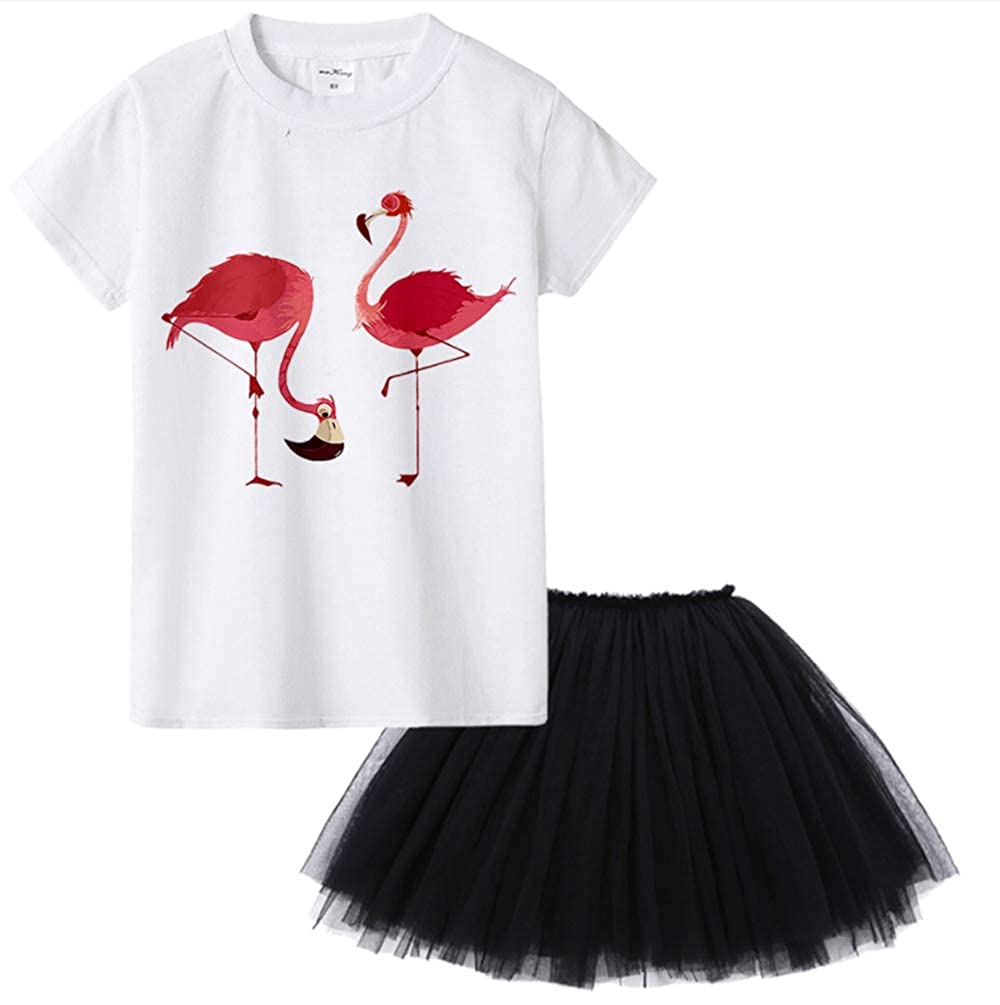 My Sky Toddler Kids Baby Girl Flamingo Top T-Shirt Lace Tutu Skirt Outfits Clothes Set for 2-12Y