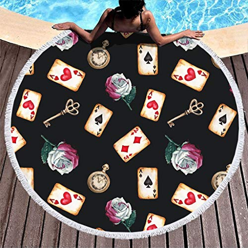 HMML Women's Microfibre Round Beach Towel - Retro Keys and Poker Cards Customized Black Travel Backpacking Gear Oversize Beach Towels with Fringe Compact for Traveling Dock Bay White 59 inch