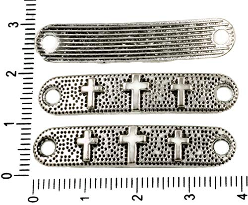 (6pcs Antique Silver Tone Rounded Rectangle Rosary Cross Connector Bars Two 2 Hole 39mm x 8mm)