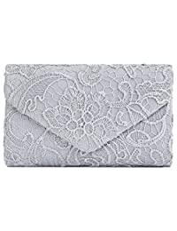U-Story Womens Floral Lace Satin Evening Envelope Clutch Bridal Wedding Handbag Purse