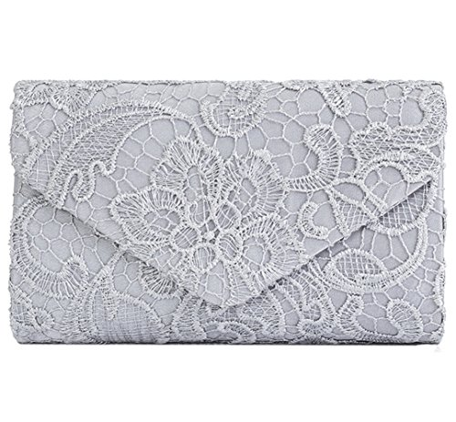 U-Story Womens Floral Lace Satin Evening Envelope Clutch Bridal Wedding Handbag Purse (Silver)