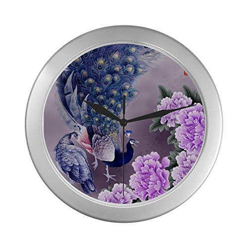 Price comparison product image Peacock Floral Print Indoor Decorative Silver Wall Clock- Battery Included