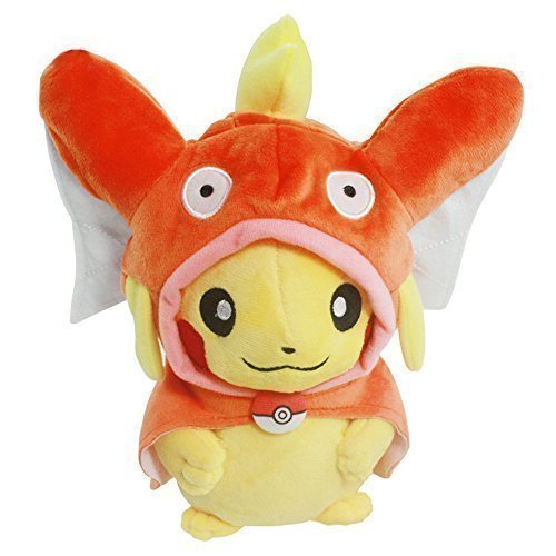 Generic Pikachu with Magikarp Hooded Cape Cosplay Pokemon Plush Toy Stuffed Animal 8'' by Generic