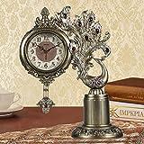 WEI Table Clock European Clock Peacock Diamond Seat Clock Living Room Large Bell Clock Bell Quiet Swing Decorative Bells Clock,AAA