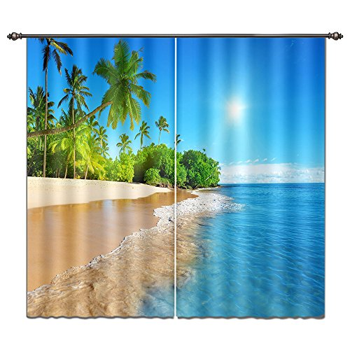 LB 3D Blackout Curtains for Bedroom and Living Room, 2 Panels Window Curtains with Image of Sunshine and Beach Scenery, 55Wx65L(Size of 2 Panels)