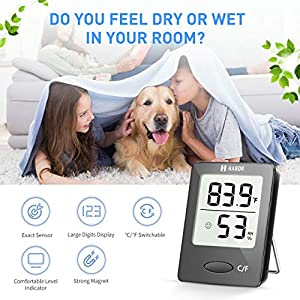 Habor Digital Hygrometer Indoor Thermometer, Humidity Gauge Indicator Room Thermometer, Accurate Temperature Humidity Monitor Meter for Home, Office, Greenhouse, Mini Hygrometer (2.3 X 1.8 Inch)