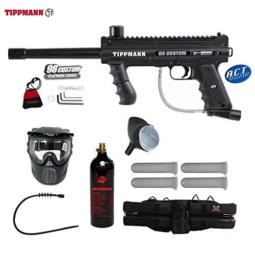 98 Model Tippmann Accessories (Tippmann 98 Custom ACT Silver Paintball Gun Package - Black)