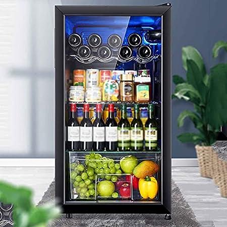 YUN 88L Enfriador De Vino Electrico,Inicio Termostato Vino Humectante Refrigerado por Aire Independiente Refrigerador con Silent Operación Mini Nevera con Panel Táctil Y Pantalla LED