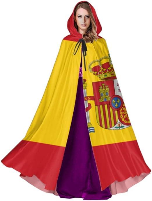 Rtosd Alta Detallada Bandera España Capa Capas Hombres Capa con Capucha 59 Pulgadas para Navidad Disfraces de Halloween Cosplay: Amazon.es: Hogar