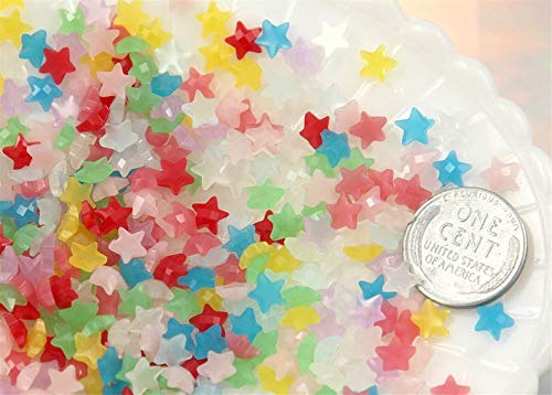 Jellies Embellishments - Star Cabochons - 6mm Mini Jelly Star Milky Color Acrylic or Resin Cabochons - 50 pc Set