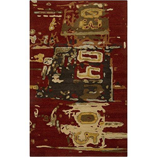 Surya Rant RANT-8701 Contemporary Hand Tufted 100% Wool Burnt Sienna 5' x 8' Graphic Novelty Area Rug (Wool Sienna Burnt Rug)