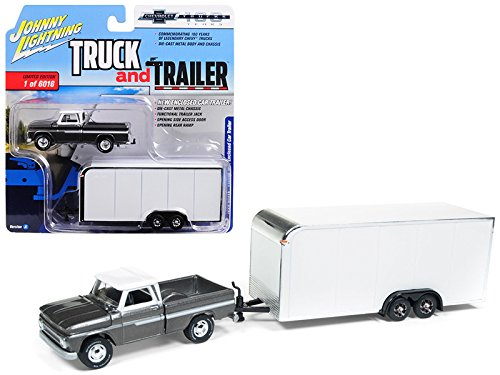 "1965 Chevrolet Pickup Truck Dark Silver W/Enclosed Car Trailer Limited Edition To 6, 016 Pcs""Truck & Trailer"" Series 2""Chevrolet Trucks 100th Anniversary"" 1/64 Diecast Model Car Jlsp017"