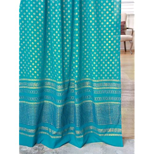 Jeweled Peacock ~Turquoise Blue And Gold Sari Sheer Curtain 46x63