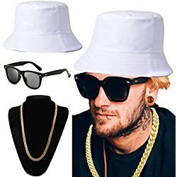 ZeroShop 80s/90s Hip-Hop Costume Kit - Cotton Bucket Hat,Gold Chain Beads,Oversized Rectangular Hip Hop Nerdy Lens Sunglasses (OneSize, White)