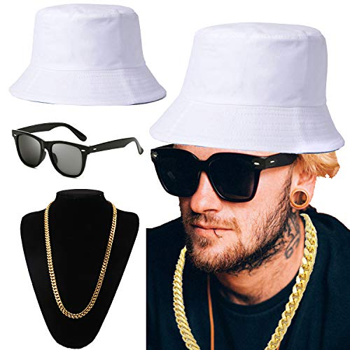 ZeroShop 80s/90s Hip-Hop Costume Kit - Cotton Bucket Hat,Gold Chain Beads,Oversized Rectangular Hip Hop Nerdy Lens Sunglasses (OneSize, White) -