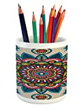 Lunarable Mandala Pencil Pen Holder, Retro Turkish with Unique Leaf Flower Figures Meditation Ritual Tribal Art Print, Printed Ceramic Pencil Pen Holder for Desk Office Accessory, Multicolor