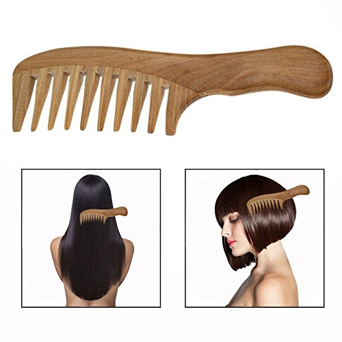 OFKPO Wooden Comb Hair Comb Sandalwood Comb Wide Tooth Comb Anti Static Comb for Thick Curly Hair