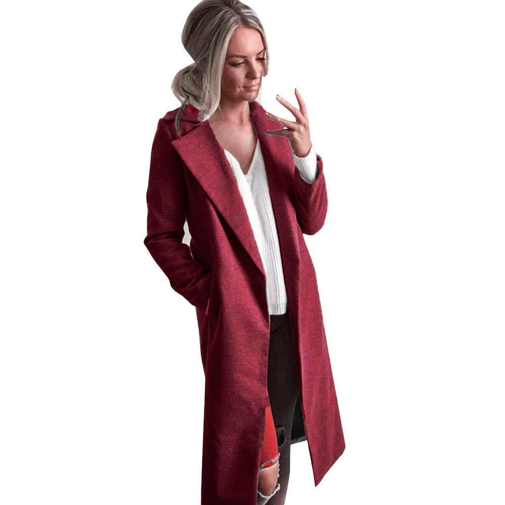 Winter Womens Long Coats,KIKOY Lapel Parka Jackets Cardigan Overcoat Outerwear by Kikoy womens jackets