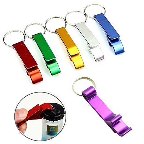 Bonayuanda 6pcs Pocket Key Chain Beer Bottle Opener Claw Bar Small Beverage Keychain Ring