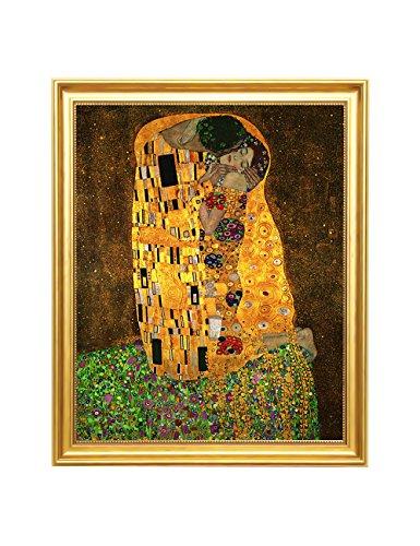 Kiss Framed - Eliteart-The Kiss By Gustav Klimt Giclee Art Canvas Prints-Framed Size:19
