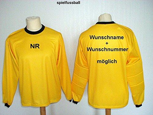 Torwart Trikot gepolstert Gelb mit Wunschname Nummer Kinder Gr/ö/ße 152