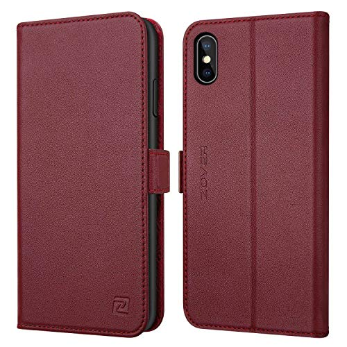 (ZOVER Leather Wallet Case Compatible with iPhone Xs Max with Auto Sleep/Wake Kickstand Feature Genuine Leather Card Slots Magnetic Clasps Gift Box Wine Red)