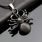 1pc Vintage Cool Spider Stainless Steel Pendant Leather Necklace Jewelry Unisex Gift AF0M