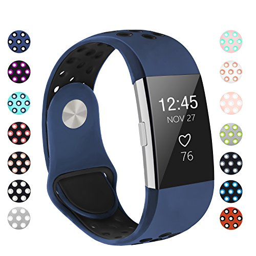 POY Replacement Bands Compatible for Fitbit Charge 2, Adjustable Breathable Wristbands with Air Holes Straps, Large Blue Black