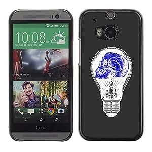 Paccase / SLIM PC / Aliminium Casa Carcasa Funda Case Cover - Light Bulb Blue White Idea Skull Deep - HTC One M8