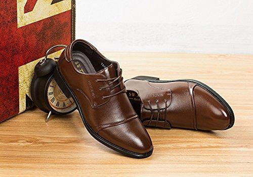 ... Missfiona Menns Klassiske Cap Tær Derby Oxfords Dress Sko Patent Lær  Forretnings Sko Brune