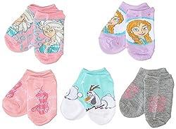 Little Girls Frozen Girls 5 Pack No Show Sock Bundles 6-8.5 Assorted