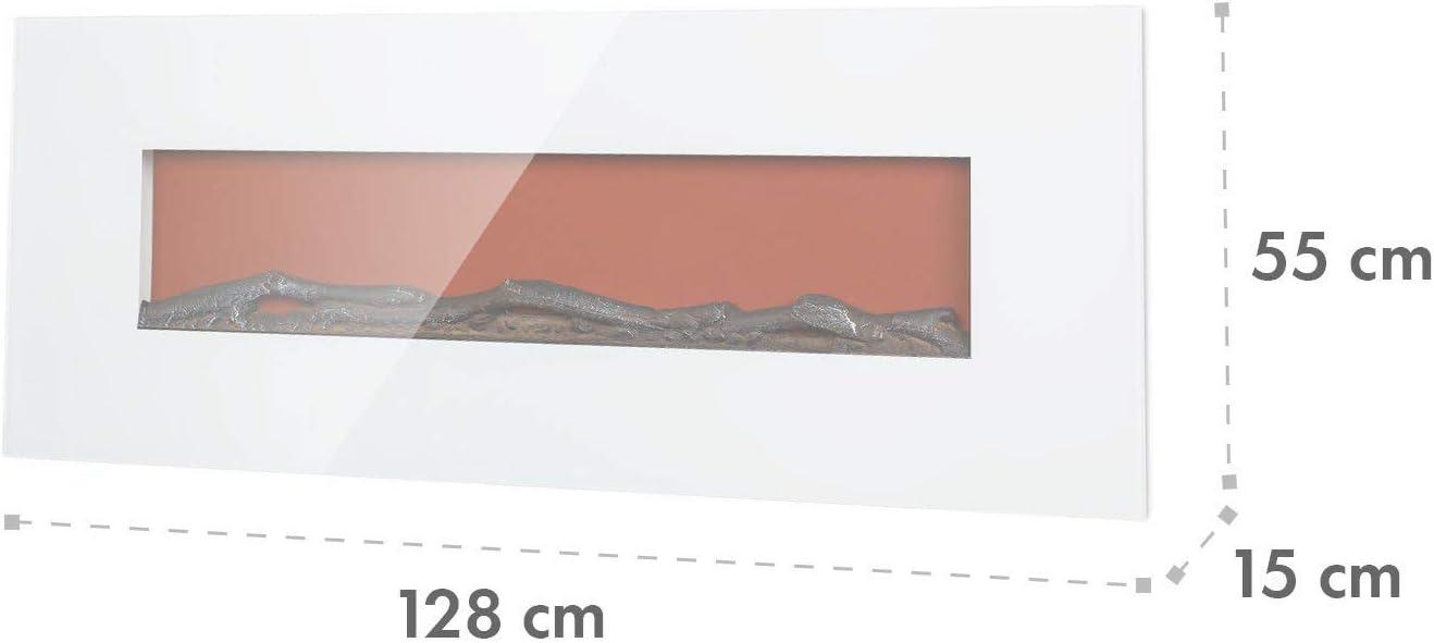 1600 W KLARSTEIN Lausanne Long Mando a Distancia claridad Regulable Chimenea el/éctrica Ventana de Vidrio endurecido Efecto llameante Hueso 2 Niveles de Calor Montaje en Pared