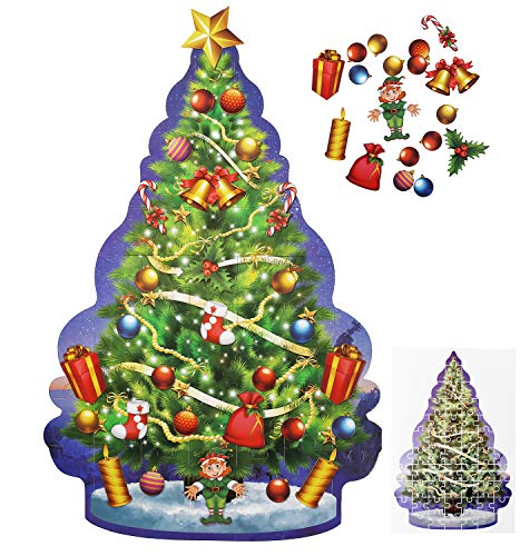 Educational Christmas Tree Floor Puzzle +29PC Ornaments kit -Let Your Children Decorate Their Own Tree -Puzzles For Kids 4 Years Old Will teach to follow design & coordination-not trail & error method