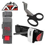 Tactical Tourniquet & Trauma Medical Shear Pouch MOLLE PALS Duty Belt Loop EMT EMS + ATG PVC Rubber Velcro Patch (Pouch Only, Gray)