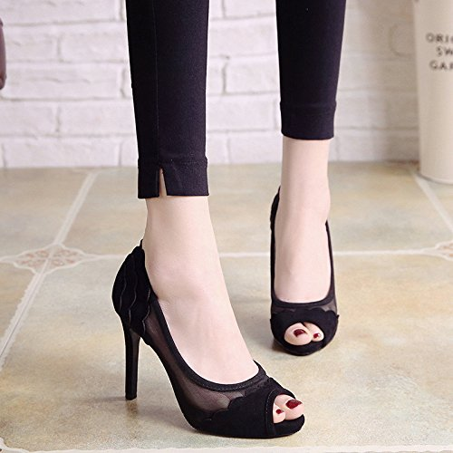 net table LBTSQ shoes fashionable fish shoe waterproof women's heel heel Black high 10cm sexy gauze mouth shoes Joker single shallow fine pqHgrpz