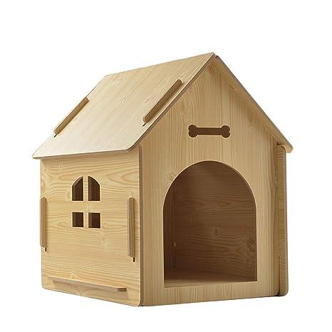 ZHAO ZHANQIANG Casa para Perros y Gatos, Sala para Perros de Madera, Perrera,