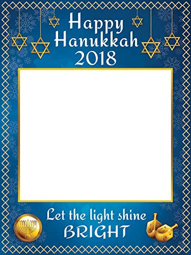 Happy Hanukkah Photo Selfie Frame Let The Light Shine Bright Print with Menorah and Star of David Design Hanukkah Decorations Handmade Party Supply Photo Booth Sizes 36x24, ()