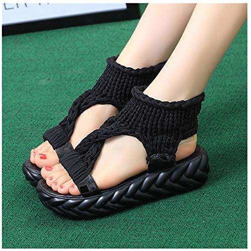 (❤️ Sunbona Women Platform Sandals Ladies Summer Open Toe Ankle Strap Comfort Big Size Casual Shoes Wedge Heeled Sandal (US:8, Black))